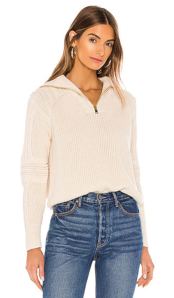 525 america Half Zip-Up Pullover in Ivory