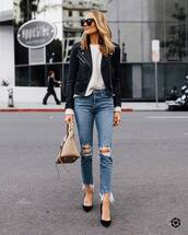 jeans,ripped jeans,high waisted jeans,cropped jeans,pumps,bag,black leather jacket,white sweater,black sunglasses