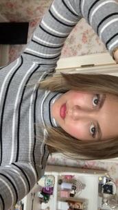 top,turtleneck,grey,stripes,striped turtleneck