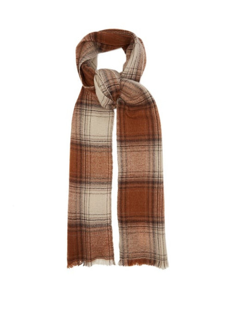Isabel Marant - Suzanne Checked Wool-blend Scarf - Womens - Brown