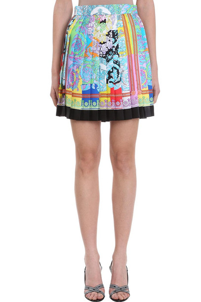 Versace Multicolor Print Pliss? Silk Mini Skirt