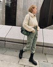 pants,high waisted pants,isabel marant,black boots,cable knit,knitted sweater,bag