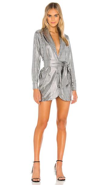 superdown Geraldine Blazer Dress in Metallic Silver