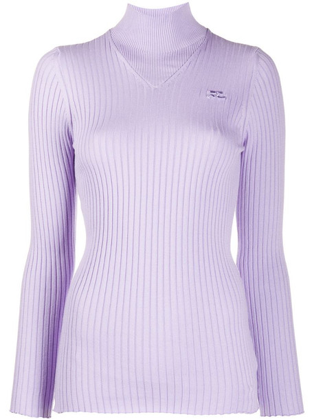 Courrèges mock neck ribbed sweater in purple