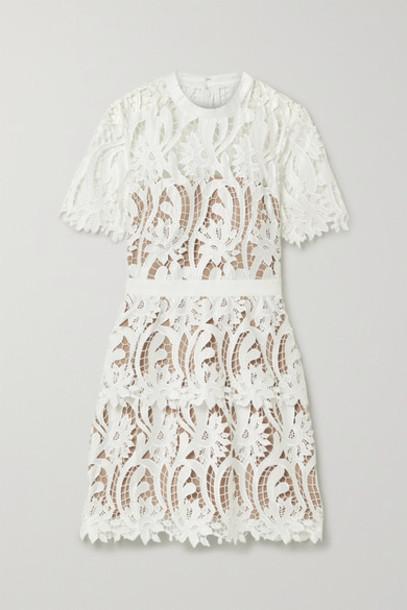 Self-Portrait - Grosgrain-trimmed Guipure Lace Mini Dress - White