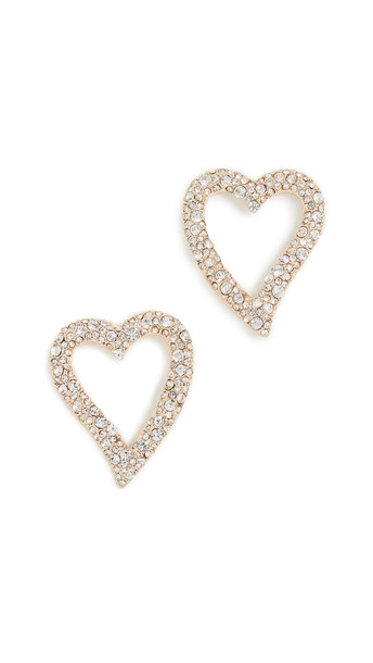 BaubleBar Curved Heart Stud Earrings in gold / clear