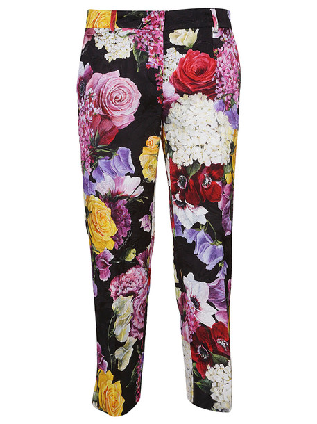 Dolce & Gabbana Broccato Floral Print Trousers