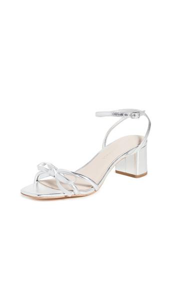 Loeffler Randall Gracie Skinny Strap Bow Low Heel Sandals in silver