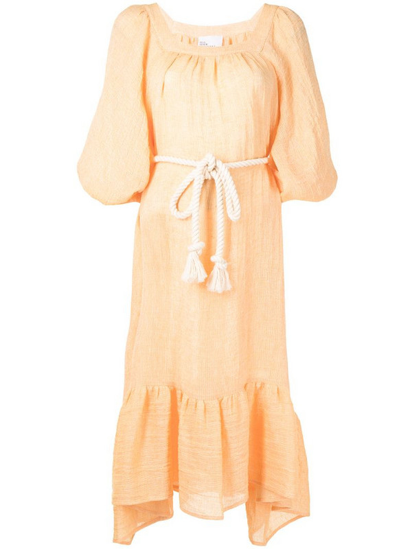 Lisa Marie Fernandez Laurie gathered midi dress in orange