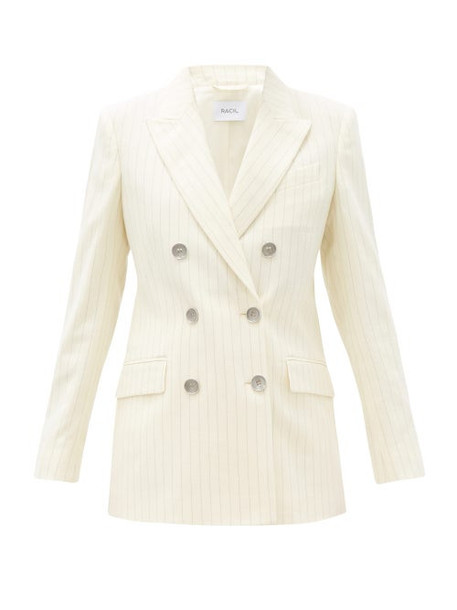 Racil - Cambridge Double-breasted Pinstriped Wool Jacket - Womens - Ivory