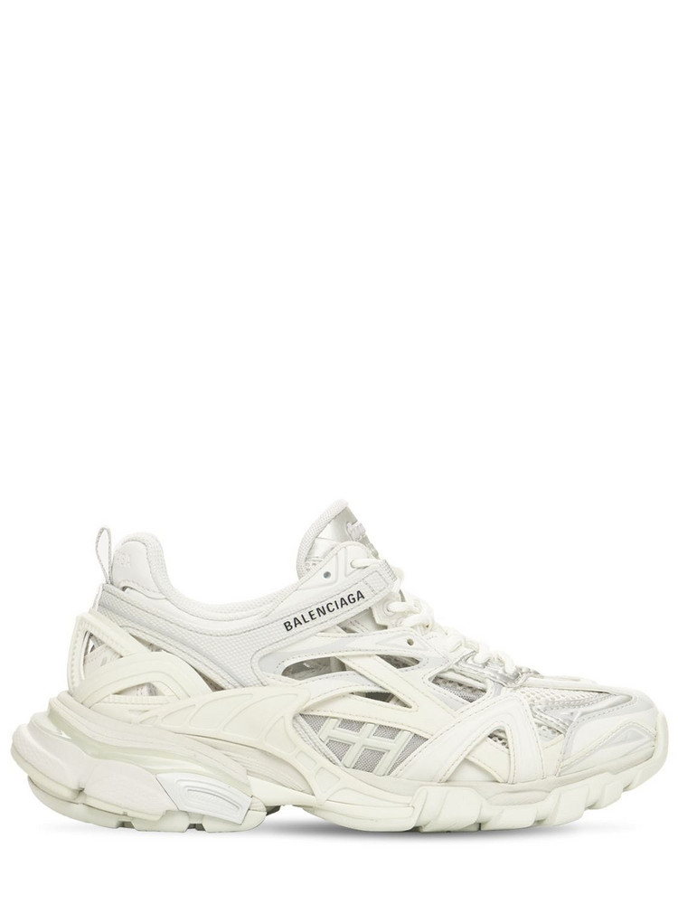 BALENCIAGA 30mm Track 2.0 Faux Leather Sneakers in white