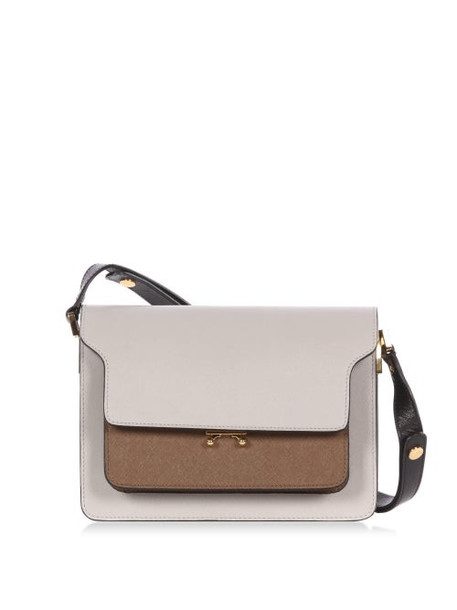 Marni - Trunk Saffiano-leather Shoulder Bag - Womens - Grey Multi