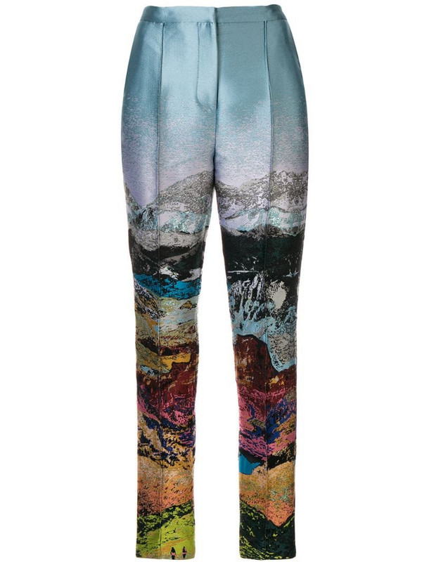 Mary Katrantzou embroidered print trousers