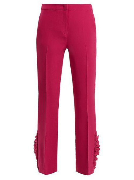 No. 21 - Mid Rise Ruffle Hem Trousers - Womens - Dark Pink