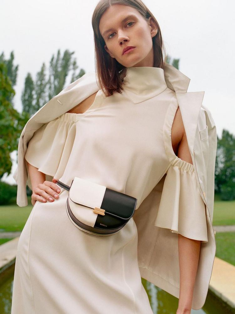 WANDLER Anna Bcolor Leather Shoulder Bag in black