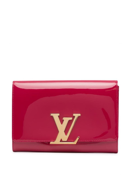 Louis Vuitton pre-owned LV plaque flap clutch in red