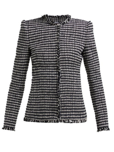 Alexander Mcqueen - Striped Single Breasted Tweed Jacket - Womens - Black White