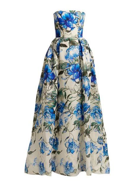 Carolina Herrera - Floral Print Strapless Silk Gown - Womens - Blue White