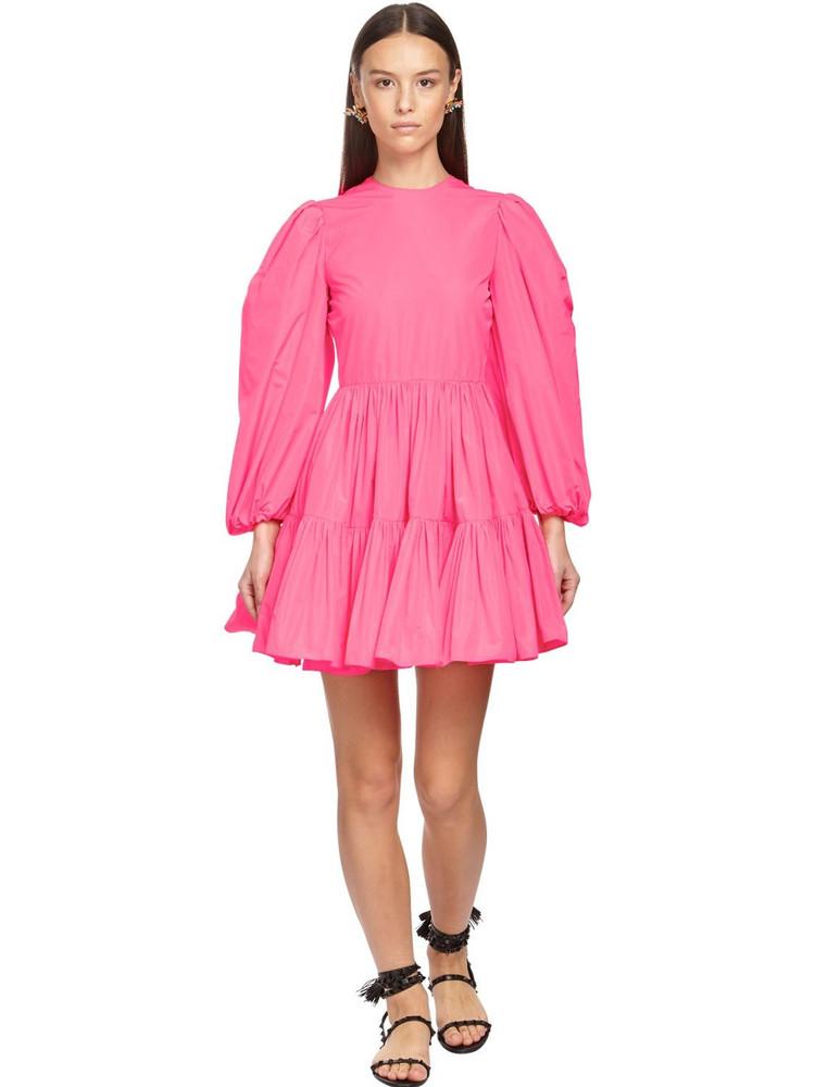 VALENTINO Ruffled Technical Taffeta Mini Dress in fuchsia