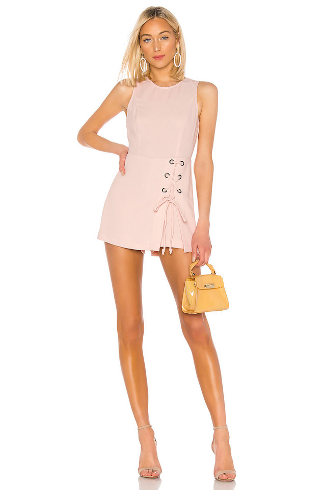 BCBGeneration Lace Up Romper in pink