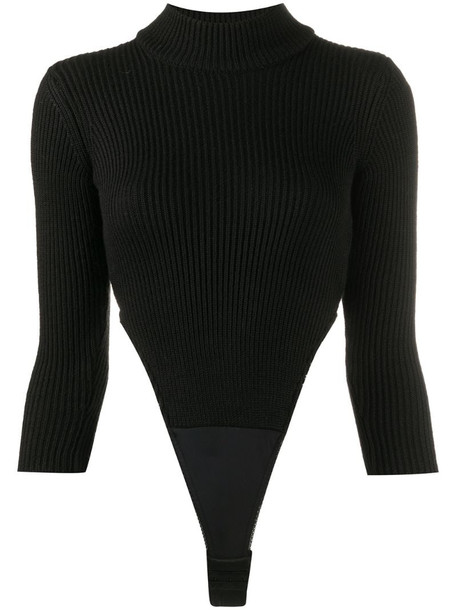 Bevza ribbed cut-out body in black