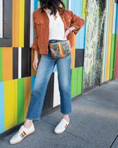 the fancy pants report,blogger,jacket,shirt,jeans,shoes,belted bag,sneakers,spring outfits