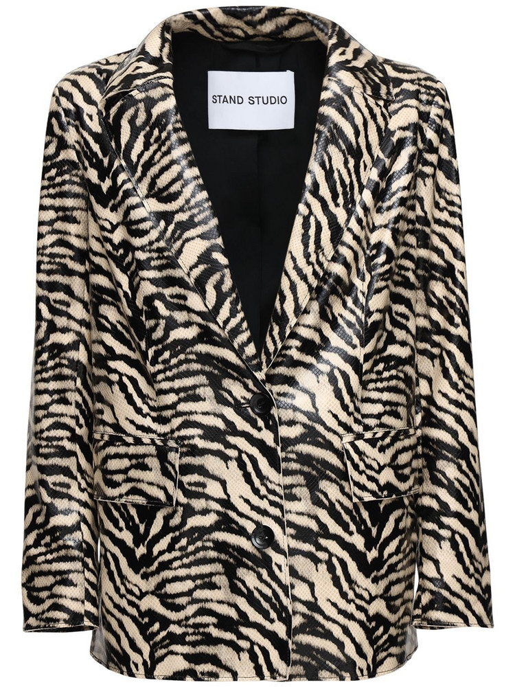 STAND Catherine Coated Faux Leather Blazer in black / white