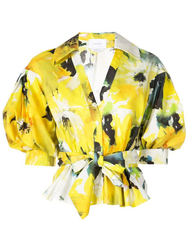 Marchesa floral print blouse in yellow