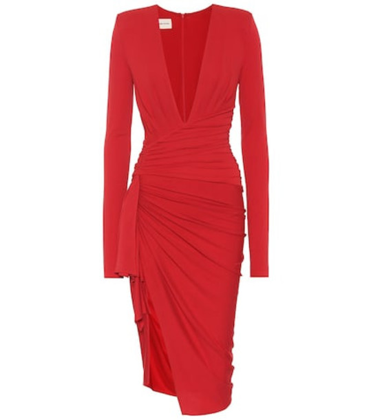 Alexandre Vauthier Long-sleeved stretch crêpe dress in red