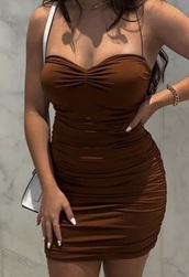 dress,brown,ruched dress,bodycon dress,tight