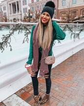sweater,knitted sweater,green sweater,black ripped jeans,black skinny jeans,plaid,scarf,gucci bag,crossbody bag,knit,hat
