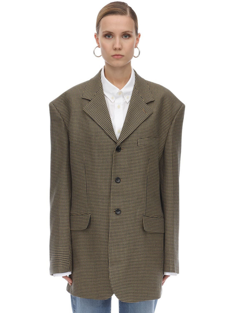 WE11 DONE Check Wool Blend Jacket in brown