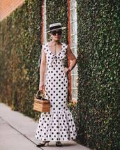 dress,maxi dress,polka dots,sleeveless dress,mules,handbag,hat,black sunglasses
