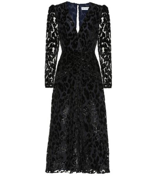 Self-Portrait Metallic leopard-dévoré midi dress in black