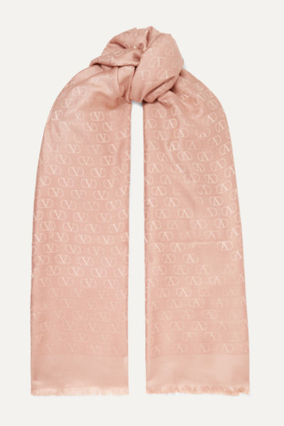 Valentino - Valentino Garavani Silk And Wool-blend Jacquard Scarf - Pastel pink