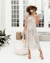dress,midi dress,polka dots,sandal heels,bag,hat