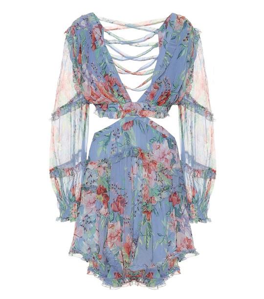 Zimmermann Bellitude floral silk-georgette minidress in blue