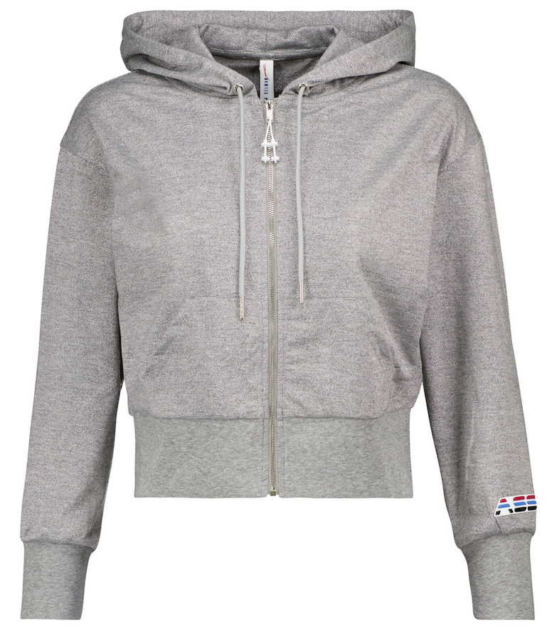 Adam Selman Sport Cropped metallic jersey hoodie in grey