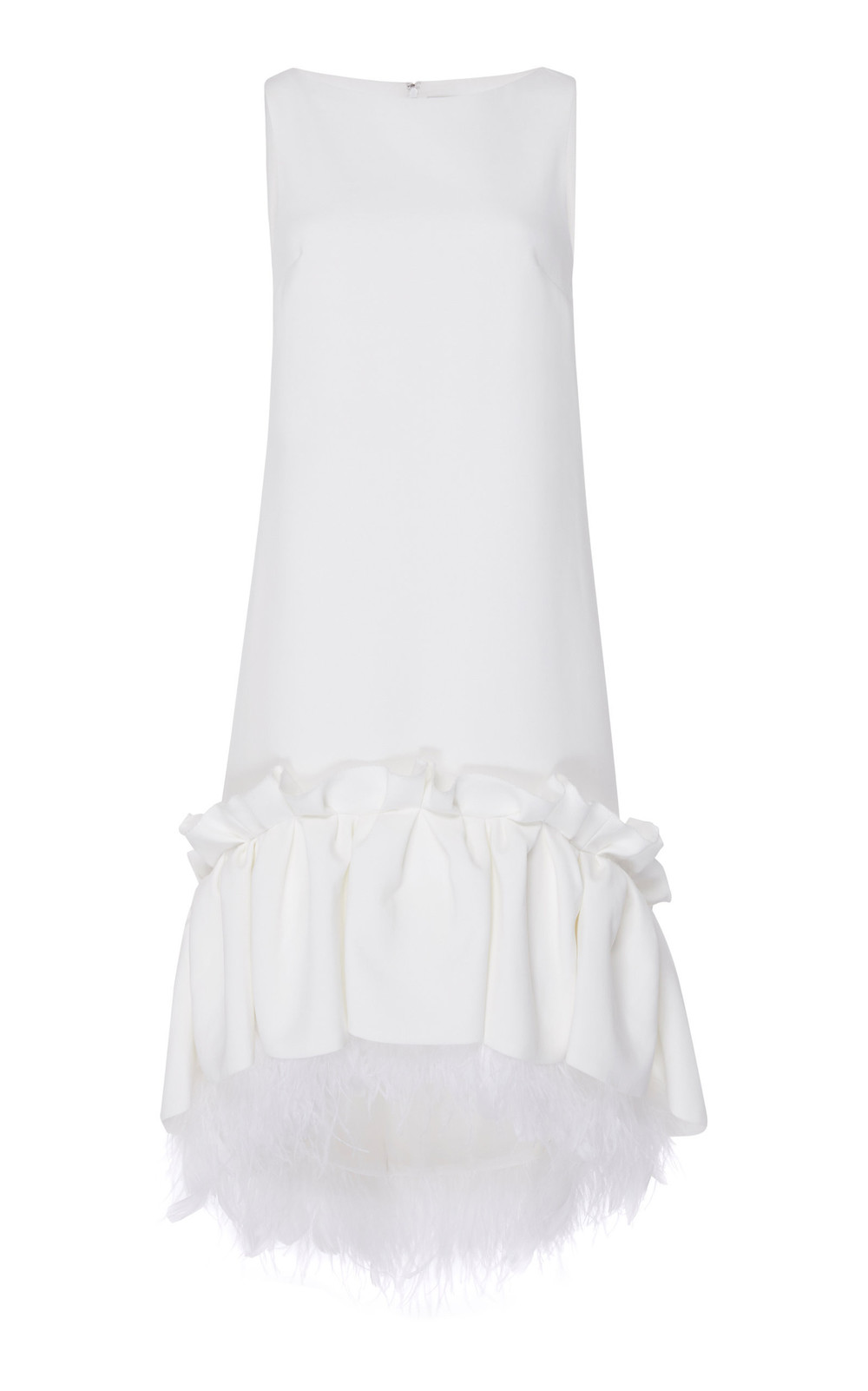 Huishan Zhang Jodie Sleeveless Feather Dress in white