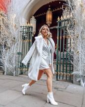 dress,sequin dress,blazer dress,silver dress,white boots,heel boots,white coat
