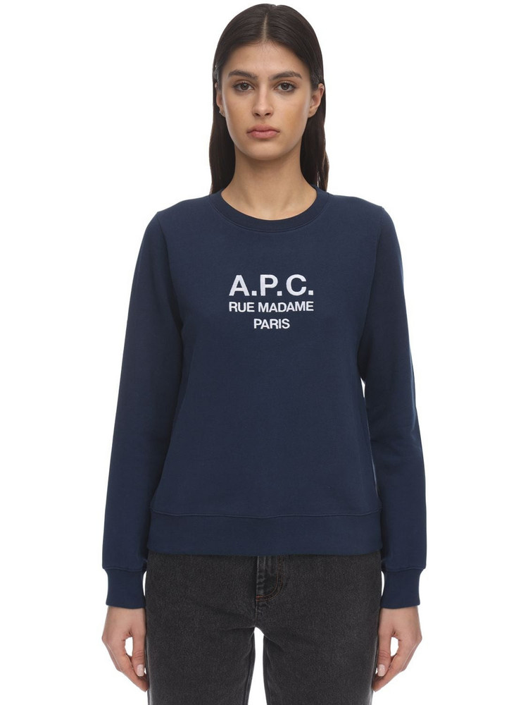 A.P.C. Embroidered Cotton Sweatshirt in navy