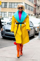 coat,colorful,rita ora,celebrity,boots,streetstyle