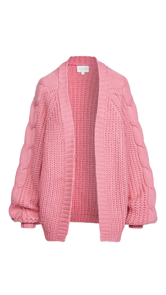 Line & Dot Bailey Cable Knit Cardigan in pink