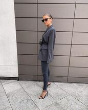 jeans,skinny jeans,grey jeans,black sandals,grey blazer,belt bag