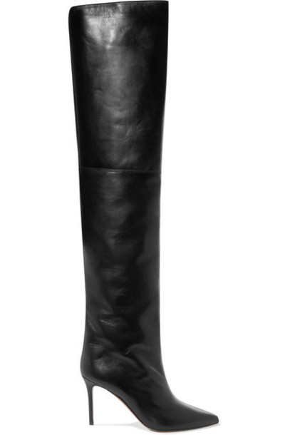 Alexandre Vauthier - Alex Leather Thigh Boots - Black