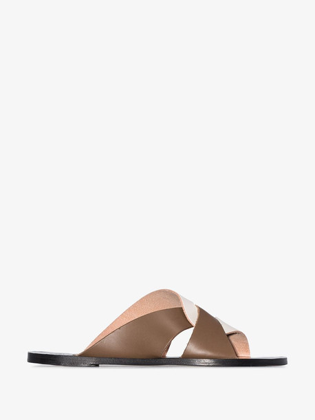 Atp Atelier brown and white Allai flat leather sandals