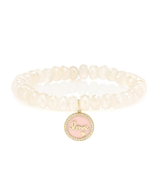Sydney Evan Love Tableau beaded bracelet with 14kt yellow gold and diamond charm in white