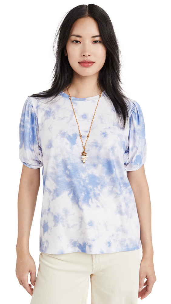 endless rose Twist Puff Sleeve T Shirt in blue