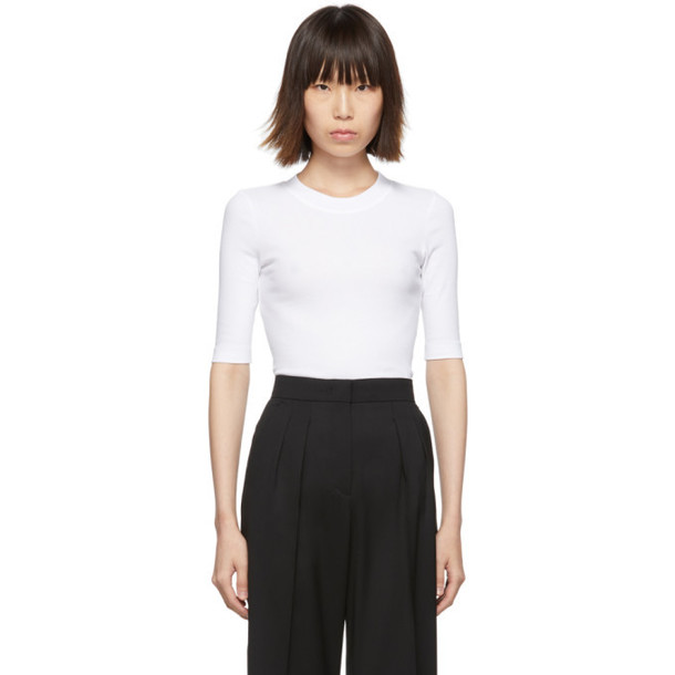 Rosetta Getty White Cropped T-Shirt