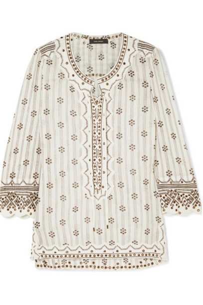 Isabel Marant - Alicia Lace-up Embellished Printed Cotton-gauze Tunic - White